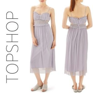 TopShop Shimmer Tulle Cutout Midi Dress
